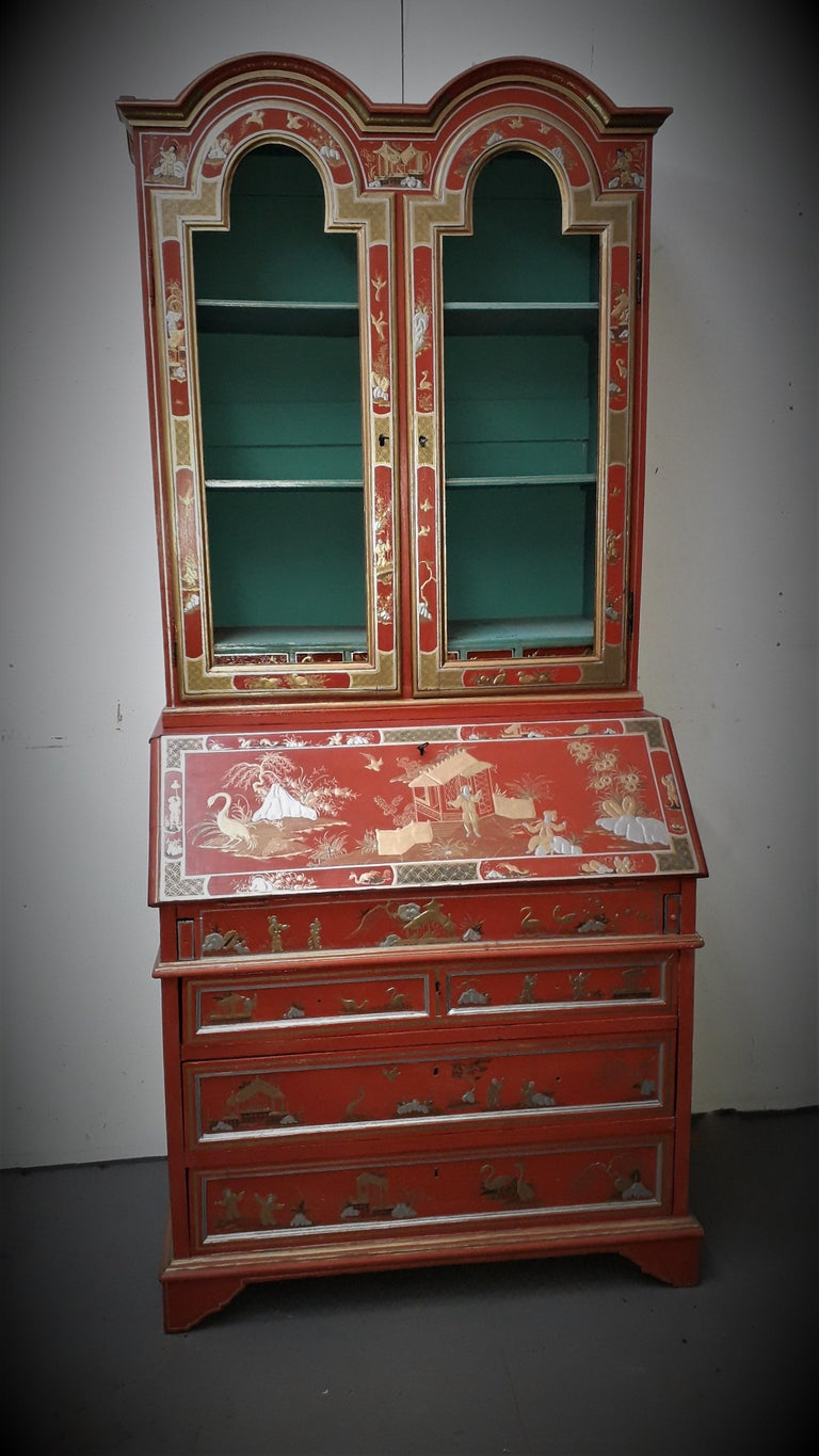 William and Mary 18th Century style Chinoiserie Red Lacquer Bureau Bookcase For Sale