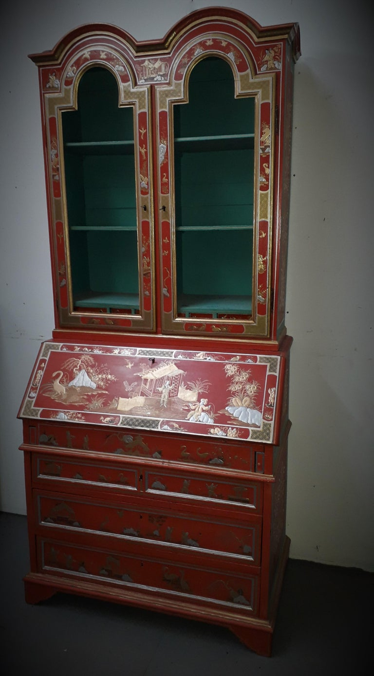 Lacquered 18th Century style Chinoiserie Red Lacquer Bureau Bookcase For Sale