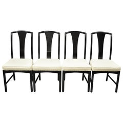 Chinoiserie Century Chair Co. Black Lacquer Chin Hua Dining Chairs, Set of 4