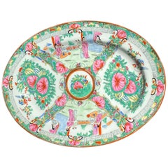 Chinoiserie Ceramic Famille Rose Oval Platter in Pink and Gold Floral Motif