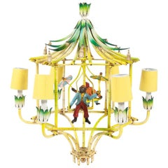 Chinoiserie Chandelier with Hanging Monkey