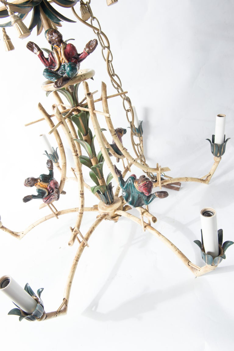 Chinoiserie Chandelier with Monkeys & Tassels For Sale 8
