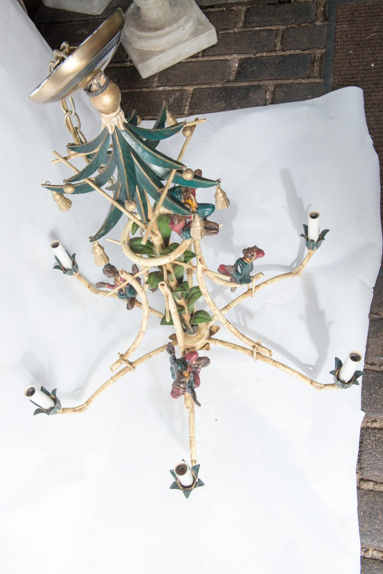 Chinoiserie Chandelier with Monkeys & Tassels For Sale 9
