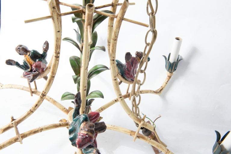 Chinoiserie Chandelier with Monkeys & Tassels For Sale 10