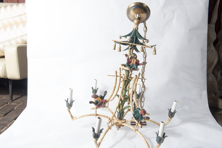 Chinoiserie Chandelier with Monkeys & Tassels In Good Condition For Sale In Stamford, CT