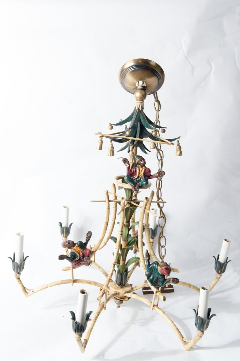 Late 20th Century Chinoiserie Chandelier with Monkeys & Tassels For Sale
