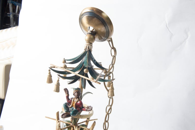 Metal Chinoiserie Chandelier with Monkeys & Tassels For Sale