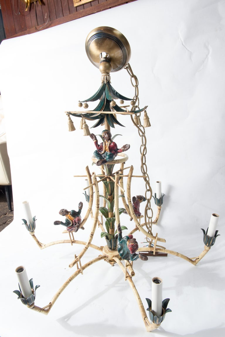 Chinoiserie Chandelier with Monkeys & Tassels For Sale 2