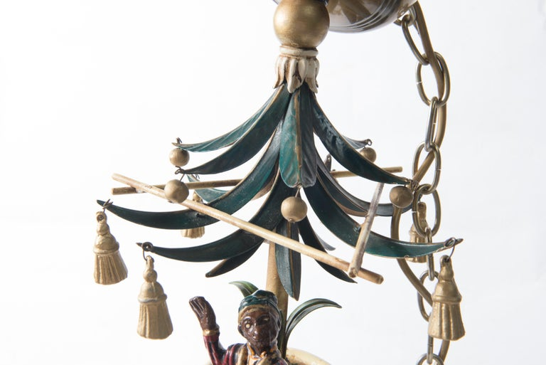Chinoiserie Chandelier with Monkeys & Tassels For Sale 3