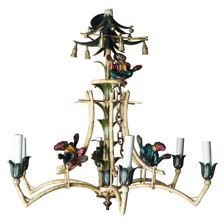 Chinoiserie Chandelier with Monkeys & Tassels For Sale
