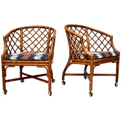 Chinoiserie Chinese Chippendale Rattan and Caned Barrel Chairs on Casters