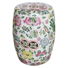 Chinoiserie Famille Rose Pink Floral Porcelain Garden Stool Seat or Plant Stand