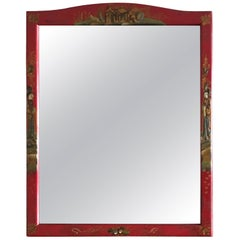 Chinoiserie Cinnabar Red Hand Painted Vanity Mirror