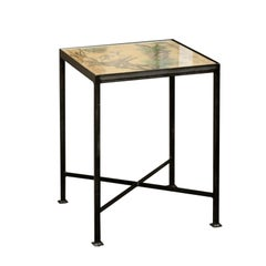 Chinoiserie Contemporary Side Table with Dog and Rabbit Motifs and Iron Base