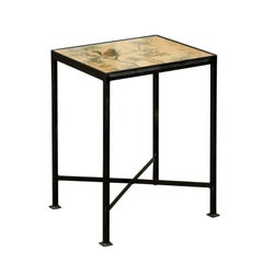 Chinoiserie Contemporary Side Table with Squirrel and Bird Motifs on Iron Base