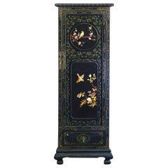 Chinoiserie Cupboard Wardrobe Lacquered with Carved Hardstone Chinese circa 1920