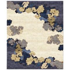Handgeknüpfter Teppich aus Wolle und Seide mit Chinoiserie, Blau und Gold