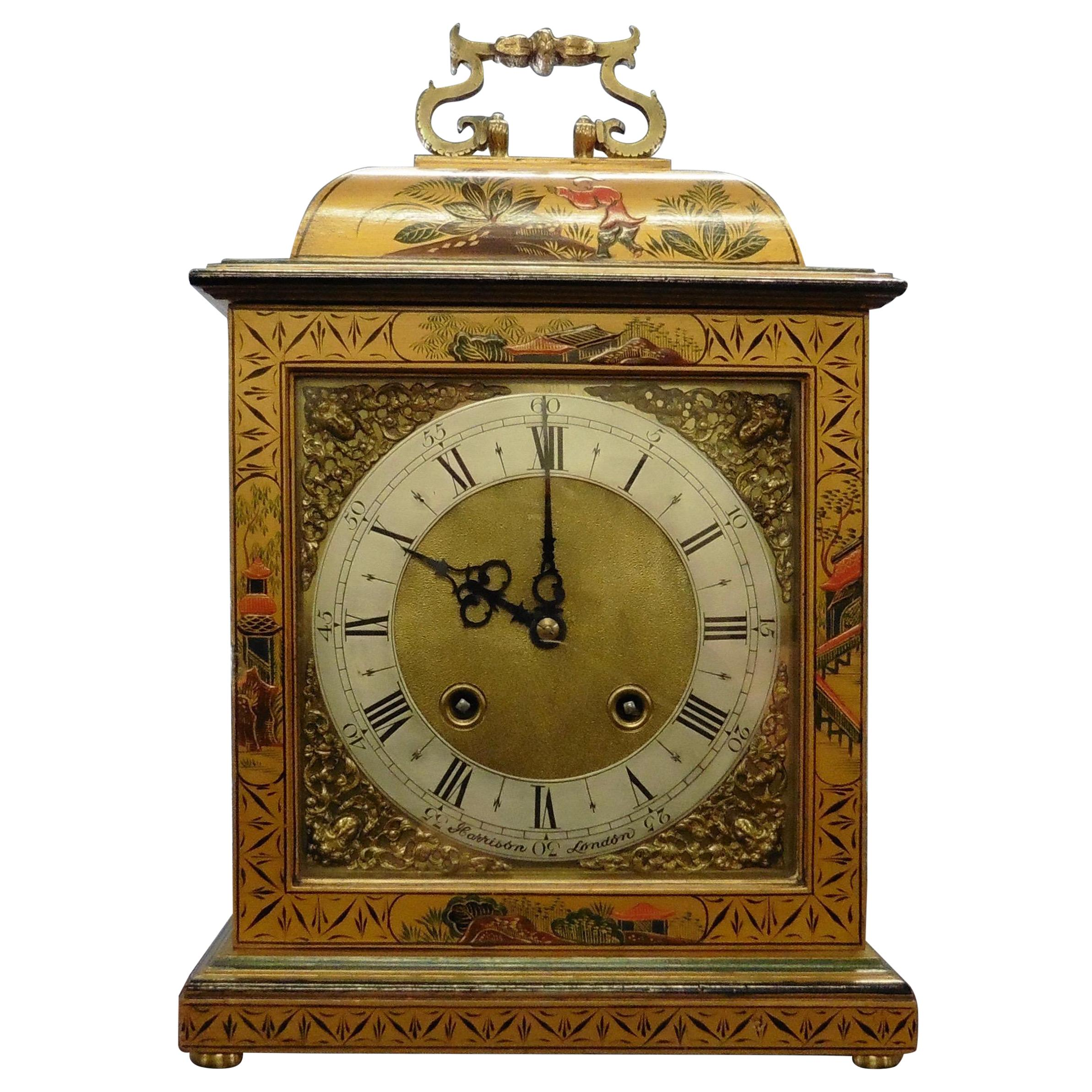 Chinoiserie Decorated Bell Top Mantel Clock by Astral