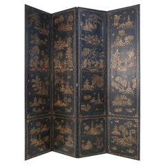 Chinoiserie-Decorated Black Wood and Leather 4-Panel Folding Screen