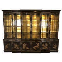 Chinoiserie Decorated Breakfront Bookcase Cabinet, Chocolate & Design Decorated