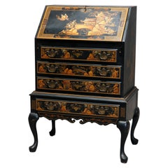 Chinoiserie Decorated Chippendale Style Ebonized Drop Front Secretary