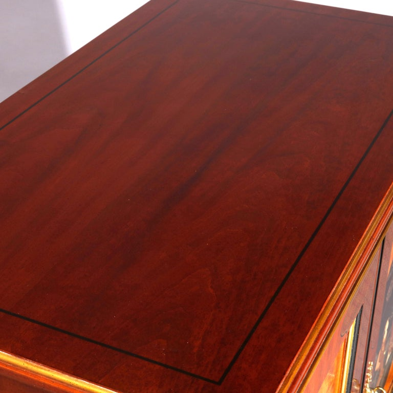 Chinoiserie Decorated Parcel-Gilt Mahogany Credenza by Drexel, 20th Century For Sale 8