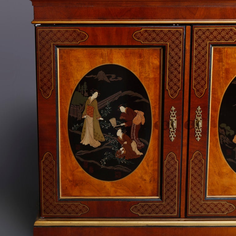 American Chinoiserie Decorated Parcel-Gilt Mahogany Credenza by Drexel, 20th Century For Sale
