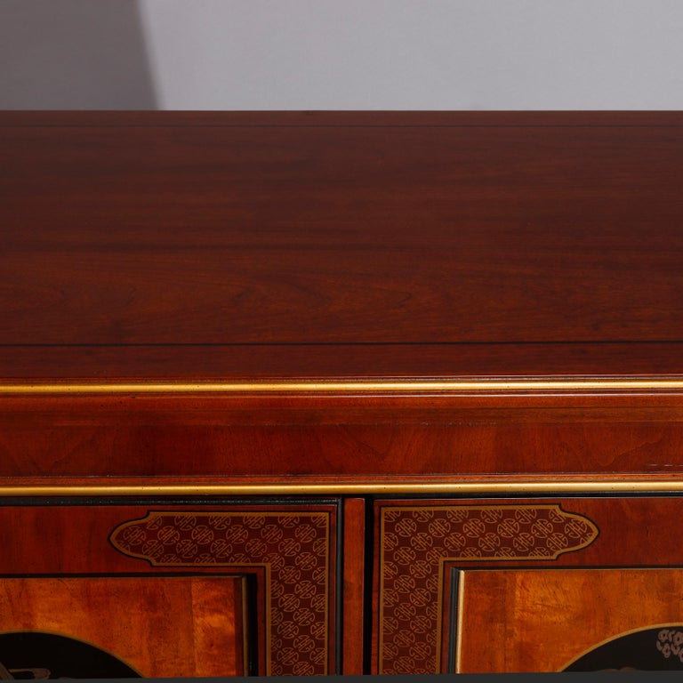 Chinoiserie Decorated Parcel-Gilt Mahogany Credenza by Drexel, 20th Century For Sale 5