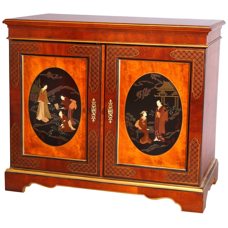 Chinoiserie Decorated Parcel-Gilt Mahogany Credenza by Drexel, 20th Century For Sale