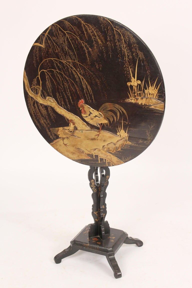 Chinese Export Chinoiserie Decorated Tilt Top Table For Sale