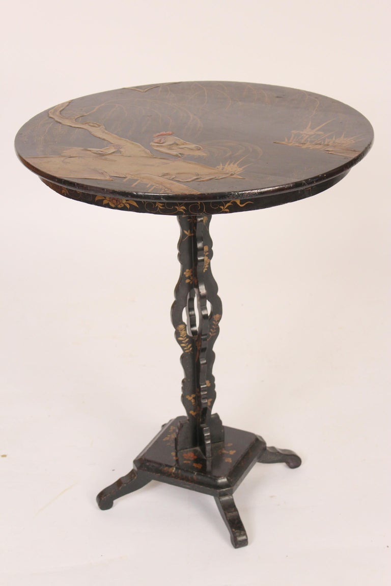Chinoiserie Decorated Tilt Top Table In Good Condition For Sale In Laguna Beach, CA