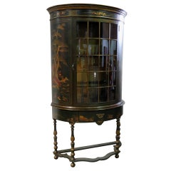 Green Chinoiserie Paint Decorated English Demilune China Cabinet  or Vitrine