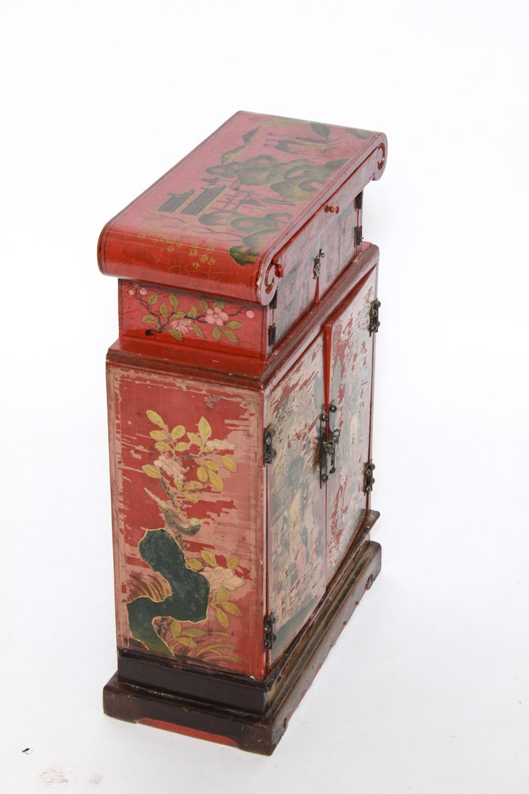 Hand-Painted Chinoiserie Diminutive Cabinet with Painted Scenes For Sale