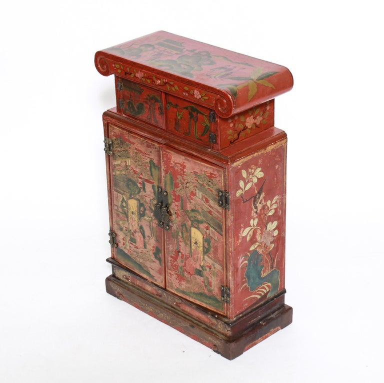 20th Century Chinoiserie Diminutive Cabinet with Painted Scenes For Sale