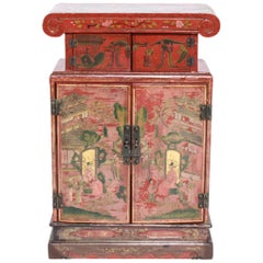 Chinoiserie Diminutive Cabinet with Painted Scenes