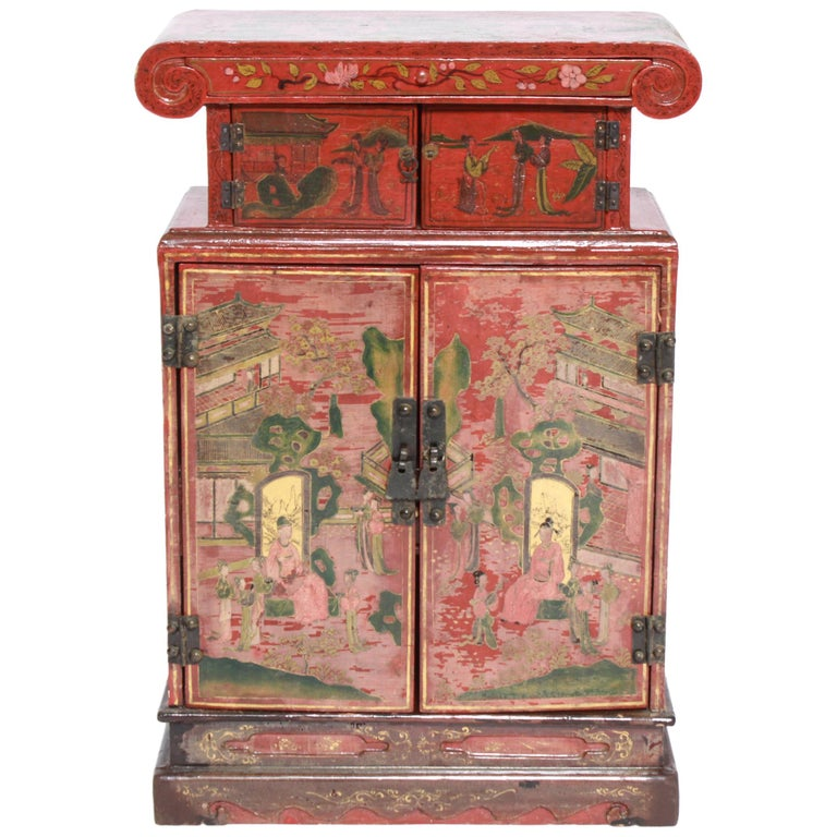Chinoiserie Diminutive Cabinet with Painted Scenes For Sale