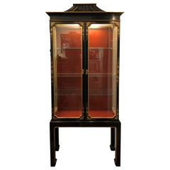 Chinoiserie Display Cabinet, Lit, with Red Interior, Vitrine, Midcentury, Black