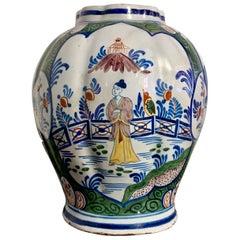 Chinoiserie Dutch Delft Polychrome Faience Lobed Jar, 18th Century, Holland
