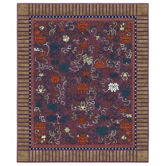 Lingering Garden Purple Hand-Knotted Wool and Silk 2.5 x 3.0m Rug