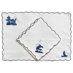 Chinoiserie Embroidered Linen Placemat and Napkin Set in Blue and White Set of 4