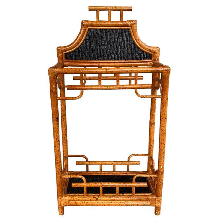 Chinoiserie English Burnt Bamboo and Wicker Pagoda Motif Umbrella Stand