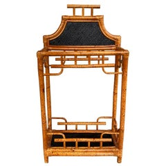 Chinoiserie English Burnt Bamboo and Wicker Pagoda Motif Umbrella Stand