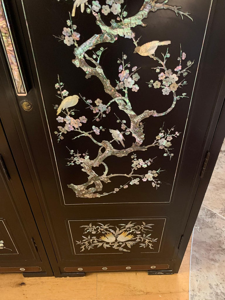 Chinoiserie Extra Large 3-Piece Mother of Pearl Wardrobe Cabinet Armoire For Sale 8