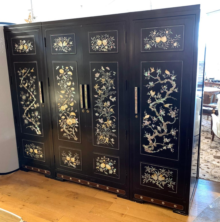 Chinoiserie Extra Large 3-Piece Mother of Pearl Wardrobe Cabinet Armoire In Good Condition For Sale In West Hartford, CT