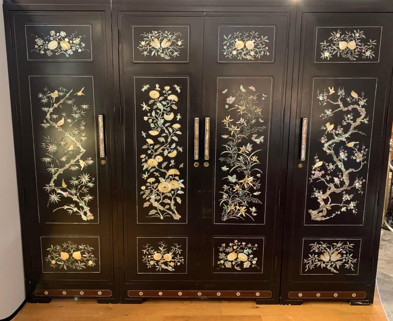 20th Century Chinoiserie Extra Large 3-Piece Mother of Pearl Wardrobe Cabinet Armoire For Sale