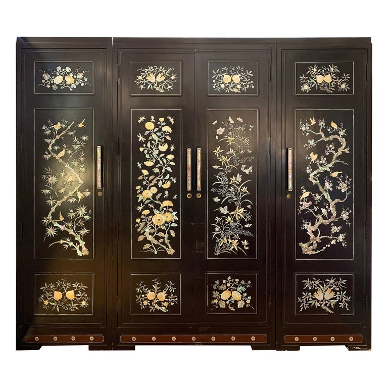 Chinoiserie Extra Large 3-Piece Mother of Pearl Wardrobe Cabinet Armoire For Sale