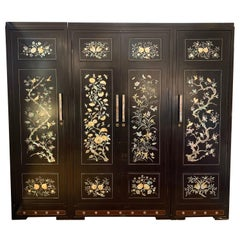 Chinoiserie Extra Large 3 Pc Mother of Pearl Wardrobe Cabinet Armoire