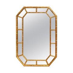 Chinoiserie Faux Bamboo Octagonal Shape Wall Mirror, circa 1970