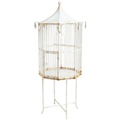 Chinoiserie Faux Bamboo Pagoda Standing Bird Cage