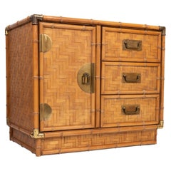 Chinoiserie Faux Bamboo and Parquetry Campaign Style Cabinet Cupboard, USA